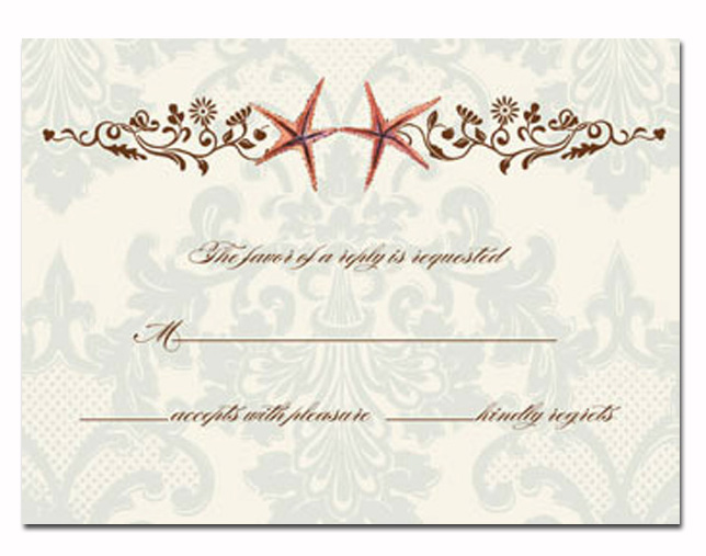 Starfish Response card - This elegant response card coordinates with item BIK-WCH-5 invitation.  This response cards comes blank or we can print it for you.  These cards are printed on FSC-certified Domtar Earth Family of papers and are acid free. coordinating envelopes included.
