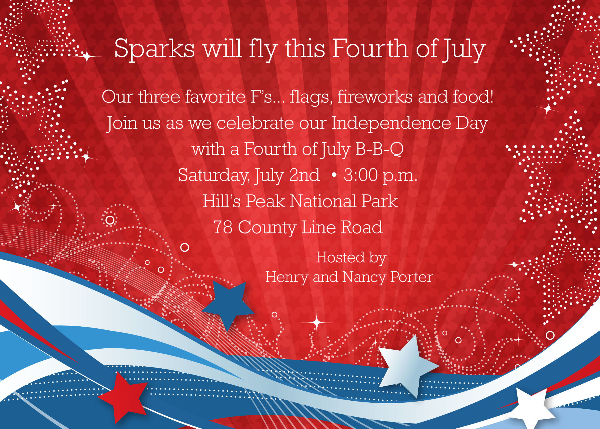 Patriotic Flurries  - This patriotic Invitation has brilliant color! Printed on premium 100lb cardstock, you will love the rich color of this unique digitally created design. Not available blank. Includes white envelope.
