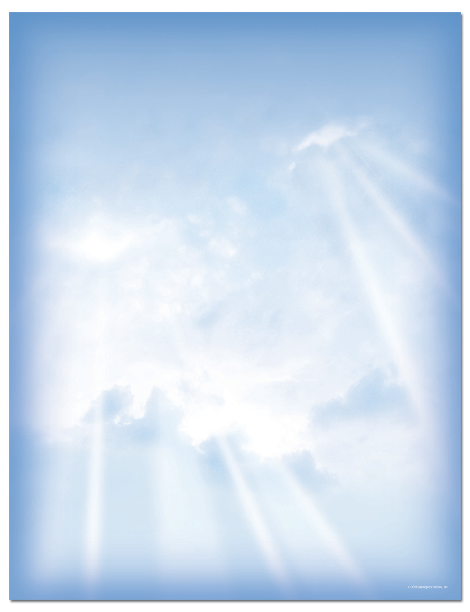 Sunbeams with Blue Letterhead  - Our desktop/EZ-print papers are a cinch for you to print on your inkjet/laser printer. Solid color envelopes are available, sold separately. (NOT AVAILABLE PERSONALIZED)