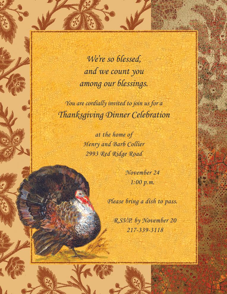 "Elegant Turkey Laser Paper  - Make an impression with our premium thanksgiving themed, colorful designer 8 ½"" x 11"" laser/inkjet paper which is easy to print on your printer!A wide selection of solid color envelopes are also available to coordinate with all paper styles.  ENVELOPES ARE SOLD SEPARATELY."