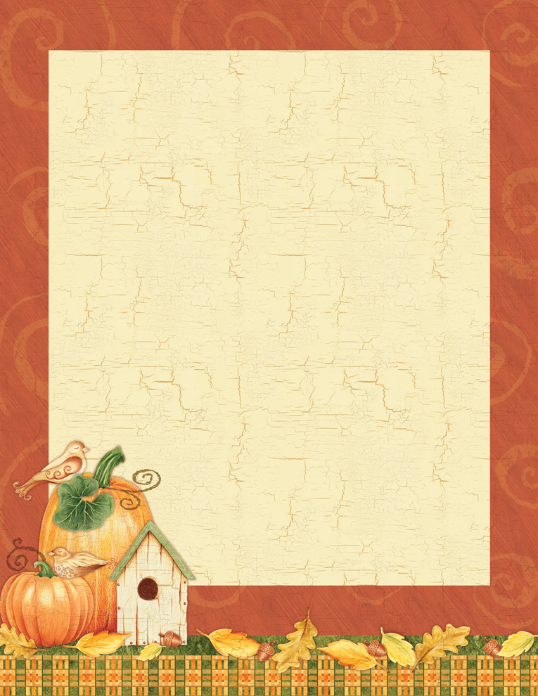 "Bird House & Pumpkin Laser Paper  - Make an impression with our premium thanksgiving themed, colorful designer 8 ½"" x 11"" laser/inkjet paper which is easy to print on your printer!A wide selection of solid color envelopes are also available to coordinate with all paper styles.  ENVELOPES ARE SOLD SEPARATELY."