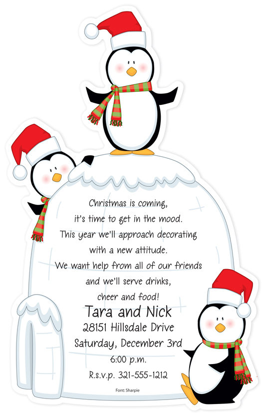 Penguin`s Igloo - Christmas Theme! Card is flat with perforated edge that is detached after printing.  Includes white envelopes.