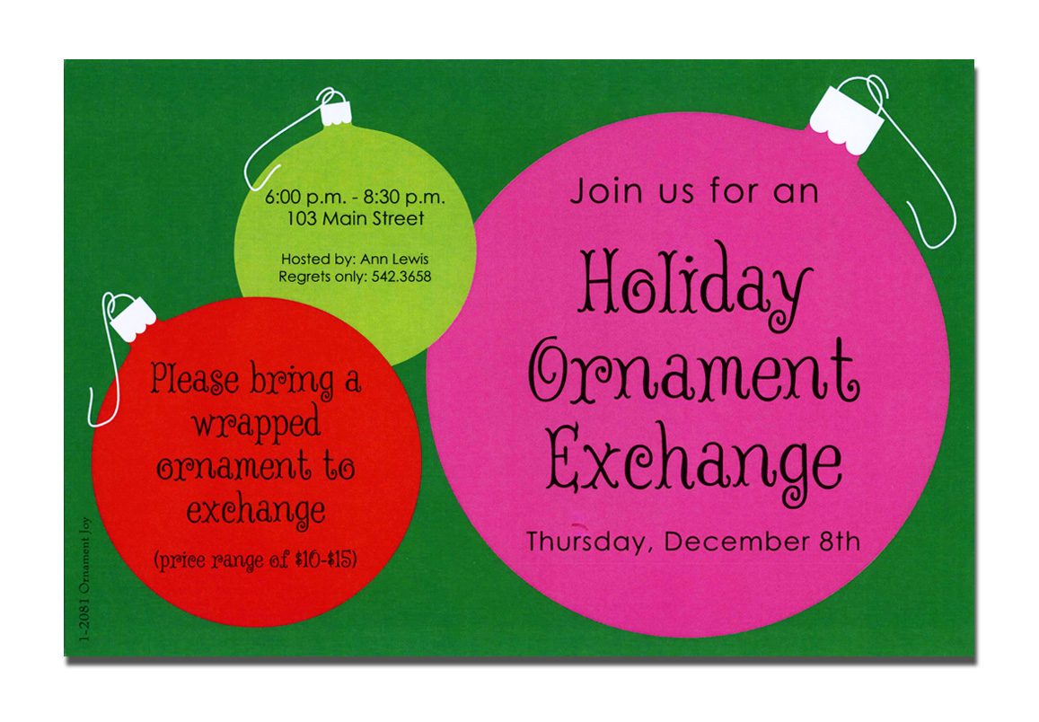 Ornament Joy - A trendy Holiday design printed only on premium fine quality 80 lb. card stock. Available either blank or personalized. Includes white envelope.