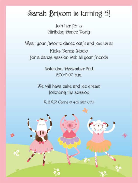 Dancing Cows - This adorable invitation features three ballerina-clad farm animals dancing on a green pasture.  The pale pink border highlights the light blue sky.  Cardstock invitation includes white envelope.  Easy to print on your inkjet/laser printer or we can print for you. Includes white envelope.