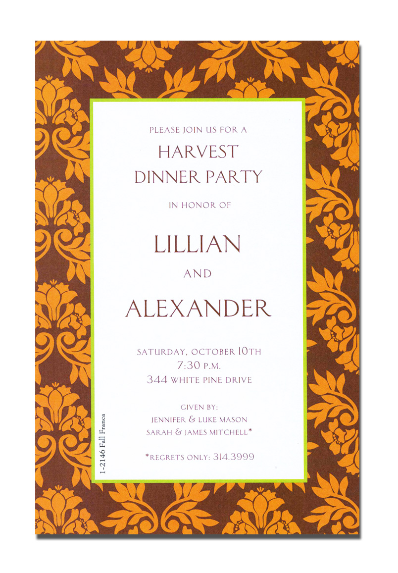 Fall Franca - The colors of Fall in a beautiful border design.  This invitation is decorated with a floral leaf damask design.  A great choice for any Autumn harvest or Thanksgiving celebration.A trendy Holiday design printed only on premium fine quality 80 lb. card stock. Available either blank or personalized. Includes white envelope.