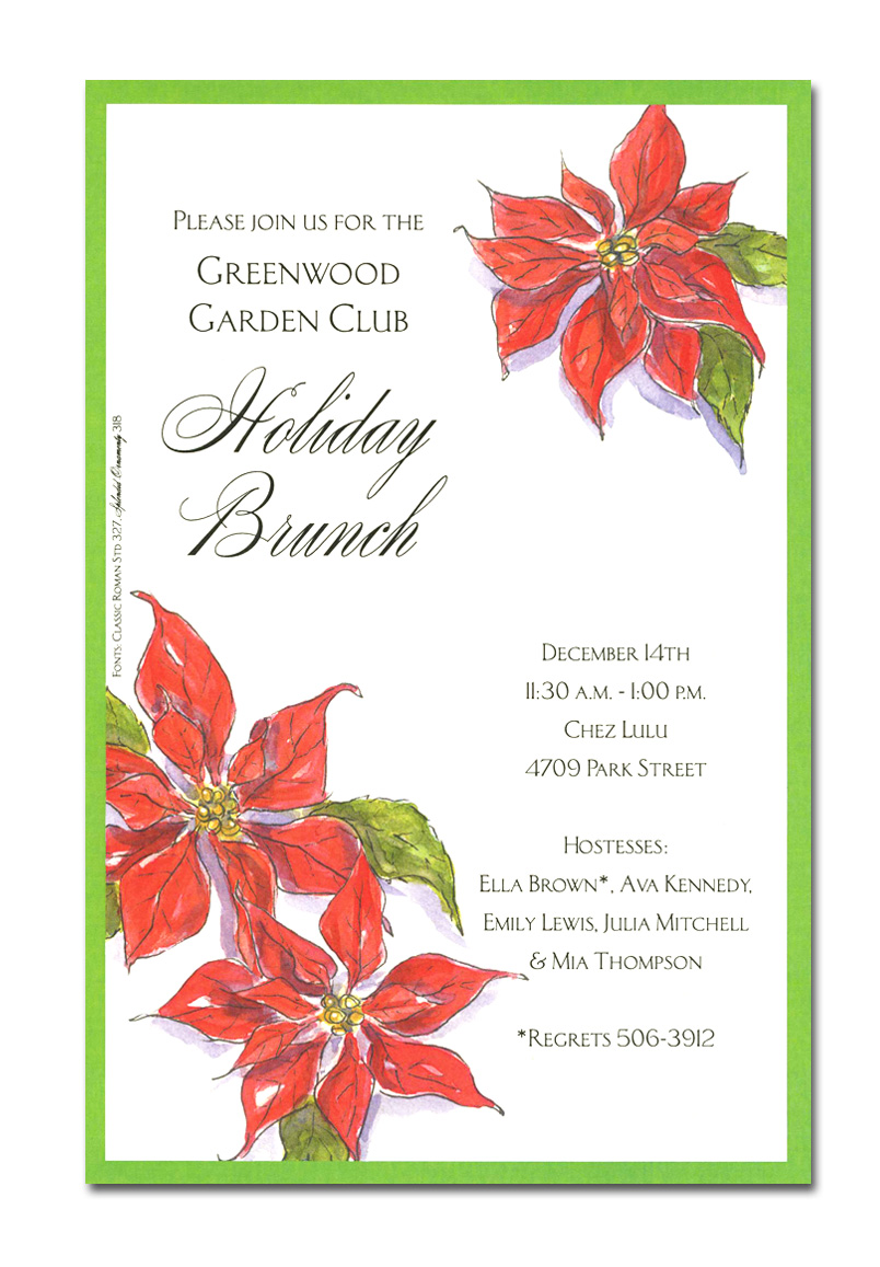 Poinsettia Corners - Exclusive line and trendy design printed  on premium fine quality 80 lb. ivory card stock. Available either blank or personalized. Includes ivory envelope.