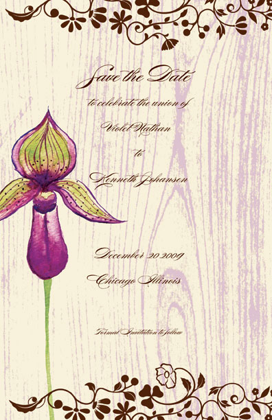 Orchid Elegant  - This fun 5.5x 8.5 invitation is comes personalized or you can get the blank and personalize them.   these cards are printed on FSC-certified Domtar Earth Family of papers and are acid free. coordinating envelopes included.