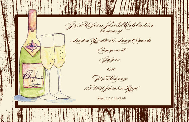 Champagne Invitation - This fun 5.5x 8.5 invitation is comes personalized or you can get the blank and personalize them.   these cards are printed on FSC-certified Domtar Earth Family of papers and are acid free. coordinating envelopes included.