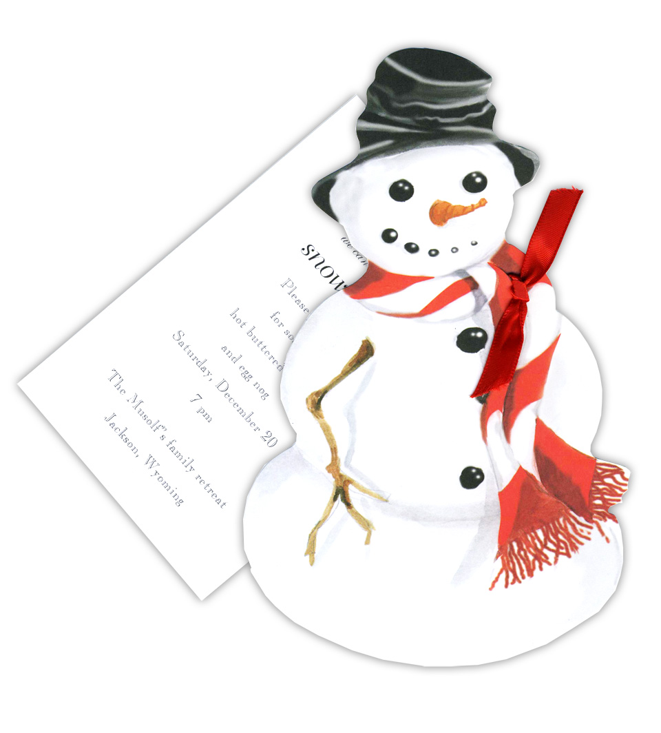 Snowman with Red & White Scarf - Stylish Snowman with Red & White Scarf themed invitation comes with the option of glitter upgrade.  High quality glitter will be provided with a glue stick or we can apply it to personalized orders for an additional .50 per card.  Please make a note in the comments if you would like glitter applied; also, request an upgrade in order options.  Comes with white envelopes.