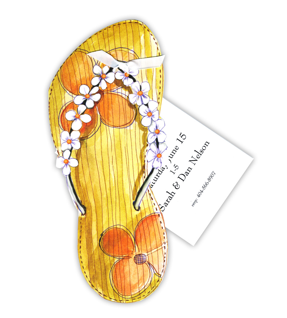 Sandal with Flowers - Stylish Sandal with Flowers themed invitation comes with the cordinating bow. Comes with white envelopes.