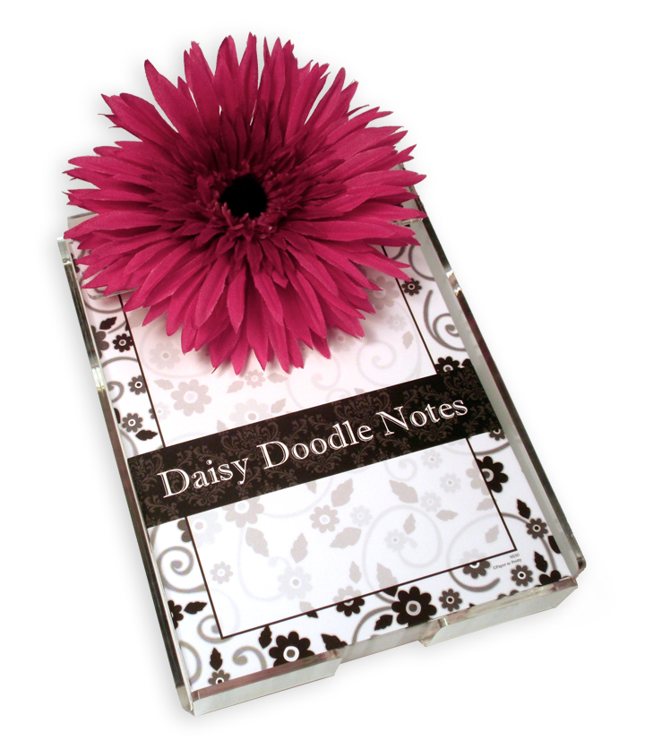Black and White Note Pad - White and Black Daisy Doodle Note pad - A great gift idea!  Comes in bright and fun designs each with 150 loose sheets.  Includes acrylic holder and a large daisy flower.  These notes can be personalized with one line of text and printed in black ink.   Personalization will be printed at the bottom of the note pad above border.