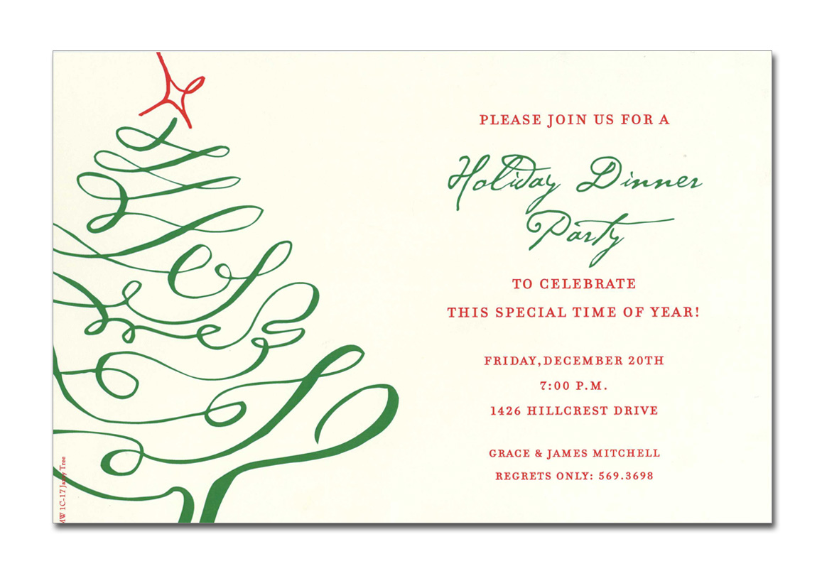 Jazzy Tree - This invitation is part of the fabulous Mindy Weiss collection. A Great and trendy christmas tree Design, printed only on premium fine quality 80 lb. card stock. Available either blank or personalized. Includes Ivory envelope.