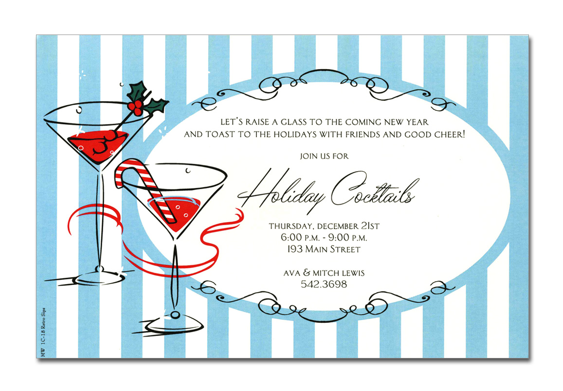 Retro Sips - This invitation is part of the fabulous Mindy Weiss collection. A Great and trendy holiday cocktail Design.  it shows two bubbling martini glasses with red liquor and a candy cane and holly sprig garnishing.  its set against an ice blue and white striped background.  Printed only on premium fine quality 80 lb. card stock. Available either blank or personalized. Includes Ivory envelope.