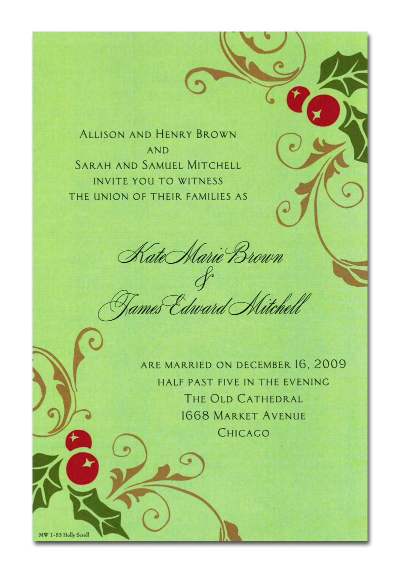 Happy Scroll - This invitation is part of the fabulous Mindy Weiss Christmas collection! A trendy design printed only on premium fine quality 80 lb. card stock. Available either blank or personalized. Includes white envelope.