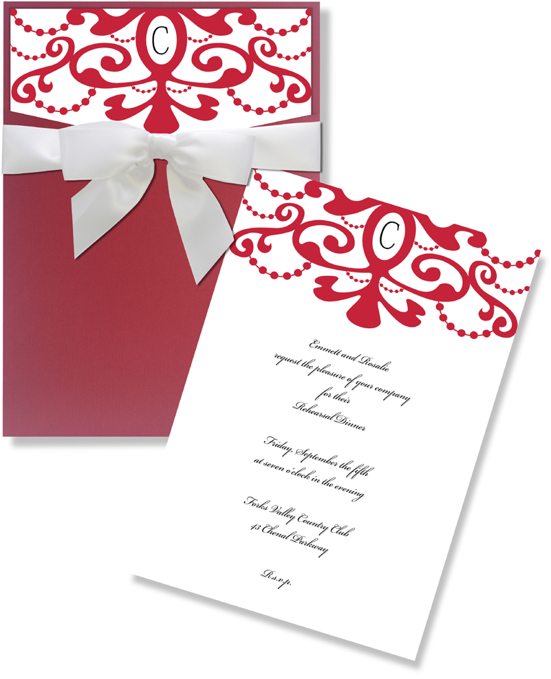 Moulin Rouge Pocket,Insert Card & Pre-Tied Ribbon - ELEGANT Linen card White Linen w/ Red Cut Pocket and White Bow w/ red scroll top.  Paper is a high quality linen 80 # card stock.  Price includes coordinating envelope.  You can purchase these blank or we can print them for you.
