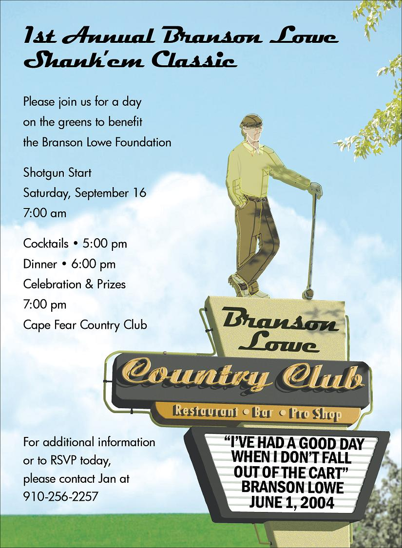 Mens Country Club - Guys, its time for a golf outing and this invitation is perfect to let your friends and associates know the details. Our invitation by Anthony Ross features a retro country club sign with a golfer, and your personalized information can be inserted at the top of the sign as well as at the bottom. Pick this perfect invitation for your golf buddys upcoming birthday party! Digitally printeded on premium 100# cardstock.  Personalization can be a maximum of 9 lines.  Includes white envelope.
