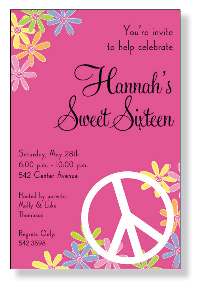 Peace Floral  - Only 20 Available for 25% Off!A trendy invitations with peace signs and floral design printed only on premium fine quality 80 lb. card stock. Available either blank or personalized. Includes white envelope.