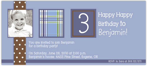 chocolate Polka dots with Argyle Birthday Invitation - Fun and Simple Blue with Plaid design digital photo card. printed on Premium #110 Cardstock. Includes white envelopes.