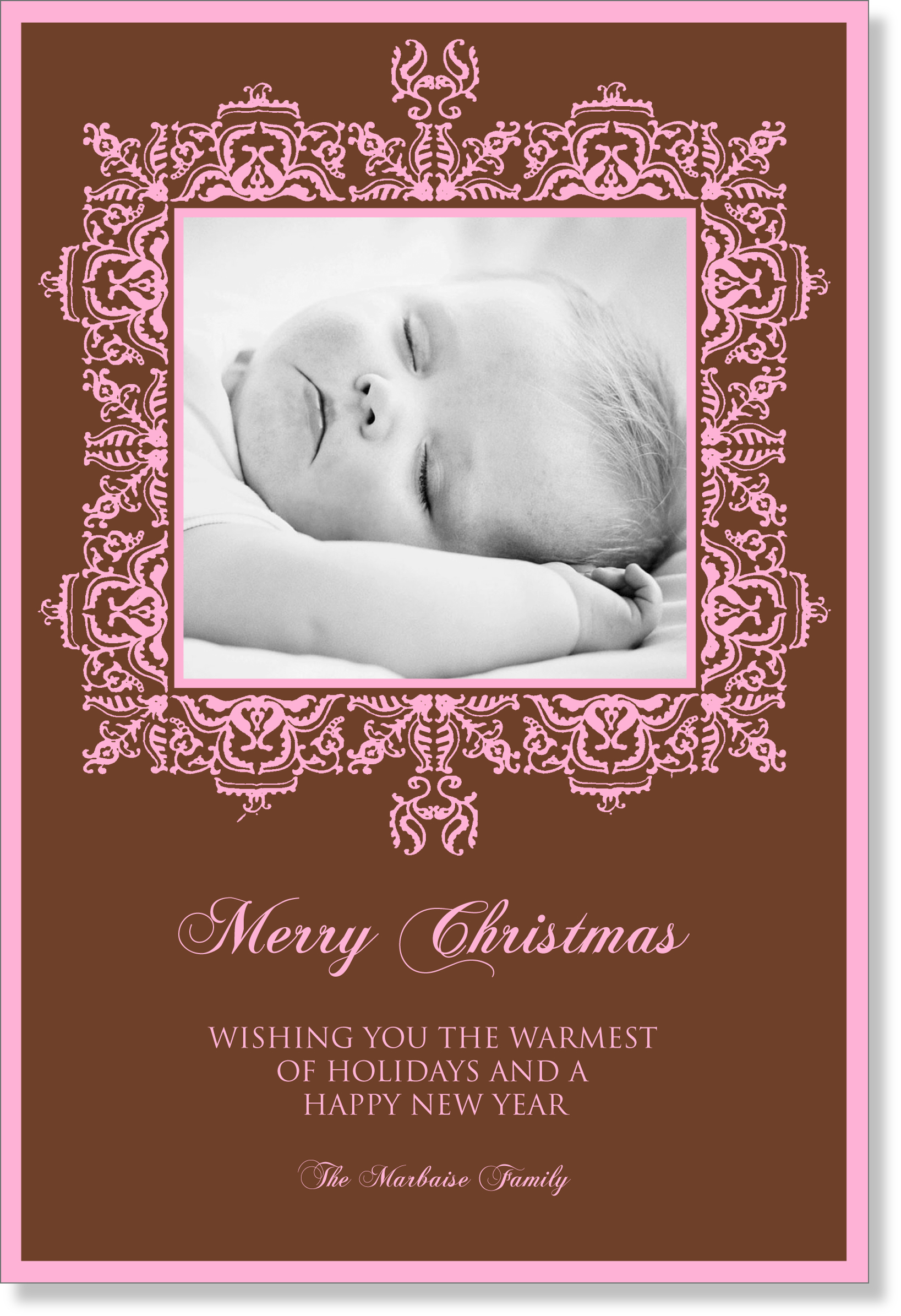 "Haviland Flat Digital Photo Card  - This Classic Design makes a great holiday card!  Personalization text comes in Chocolate and Pink printed on 100# card stock.  Card can occupy a maximum of 3 lines of text.  Please indicate if you would like ""Merry Christmas!"" on card.  Printed on 100% recycled paper."
