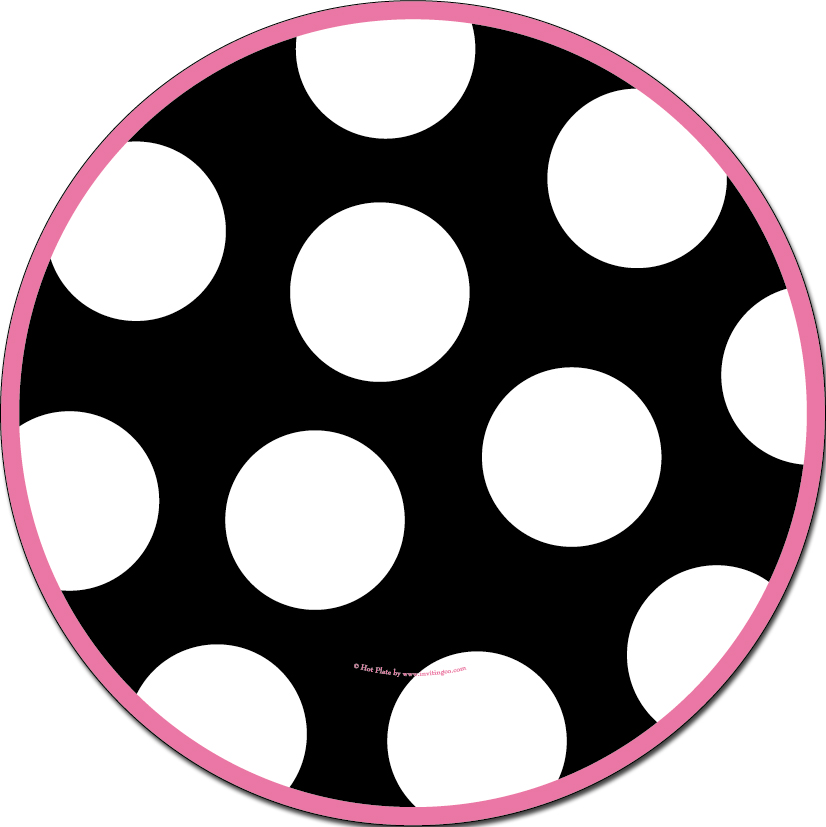 "Spots Black Dinner Plate  - Complete your event with this Trendy Peace sign design! 10.5"" in diameter. Black and Pink tableware.  Coordinating pieces available, but sold seperately."