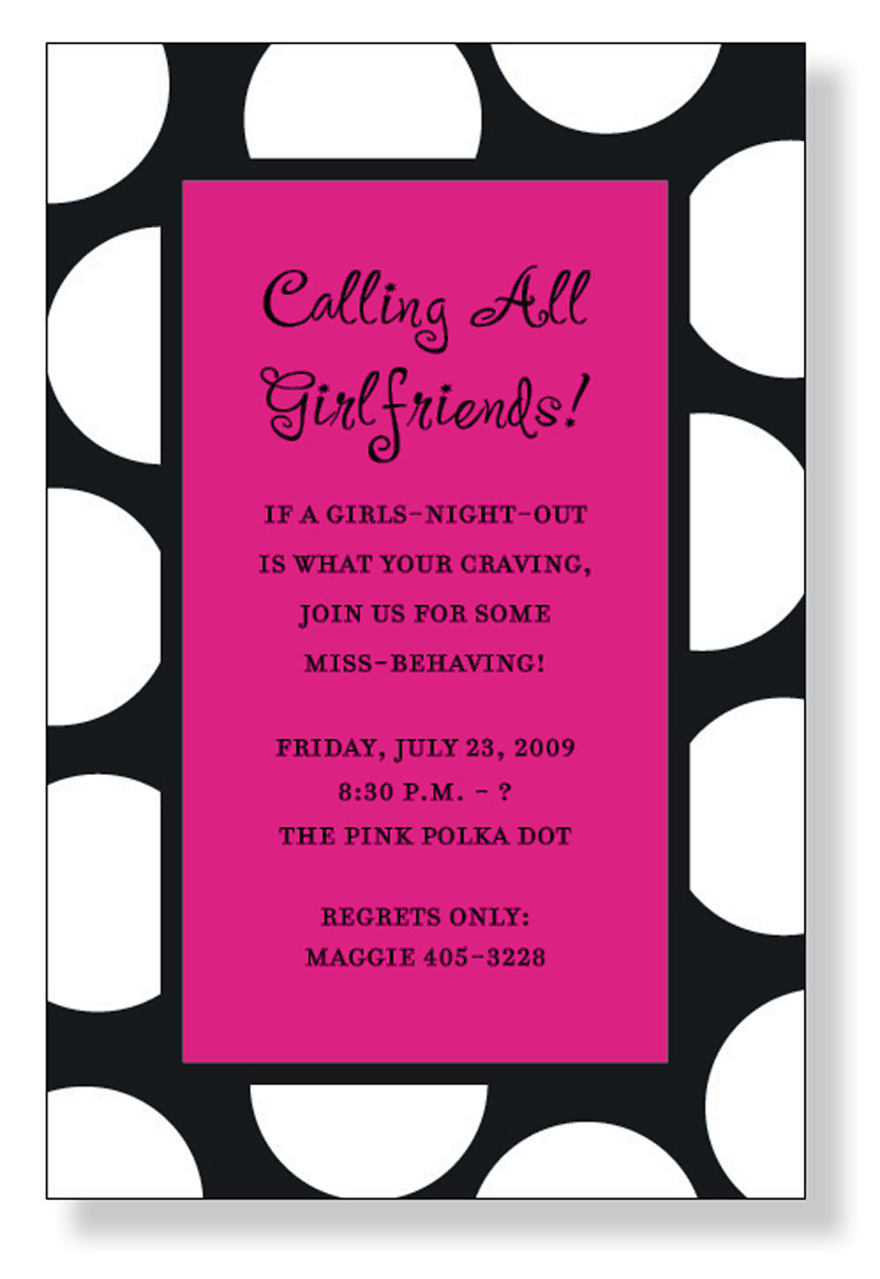 Black Dots - A fun black and hot-pink themed invitation printed only on premium fine quality 80 lb. card stock. Available either blank or personalized. Includes white envelope.