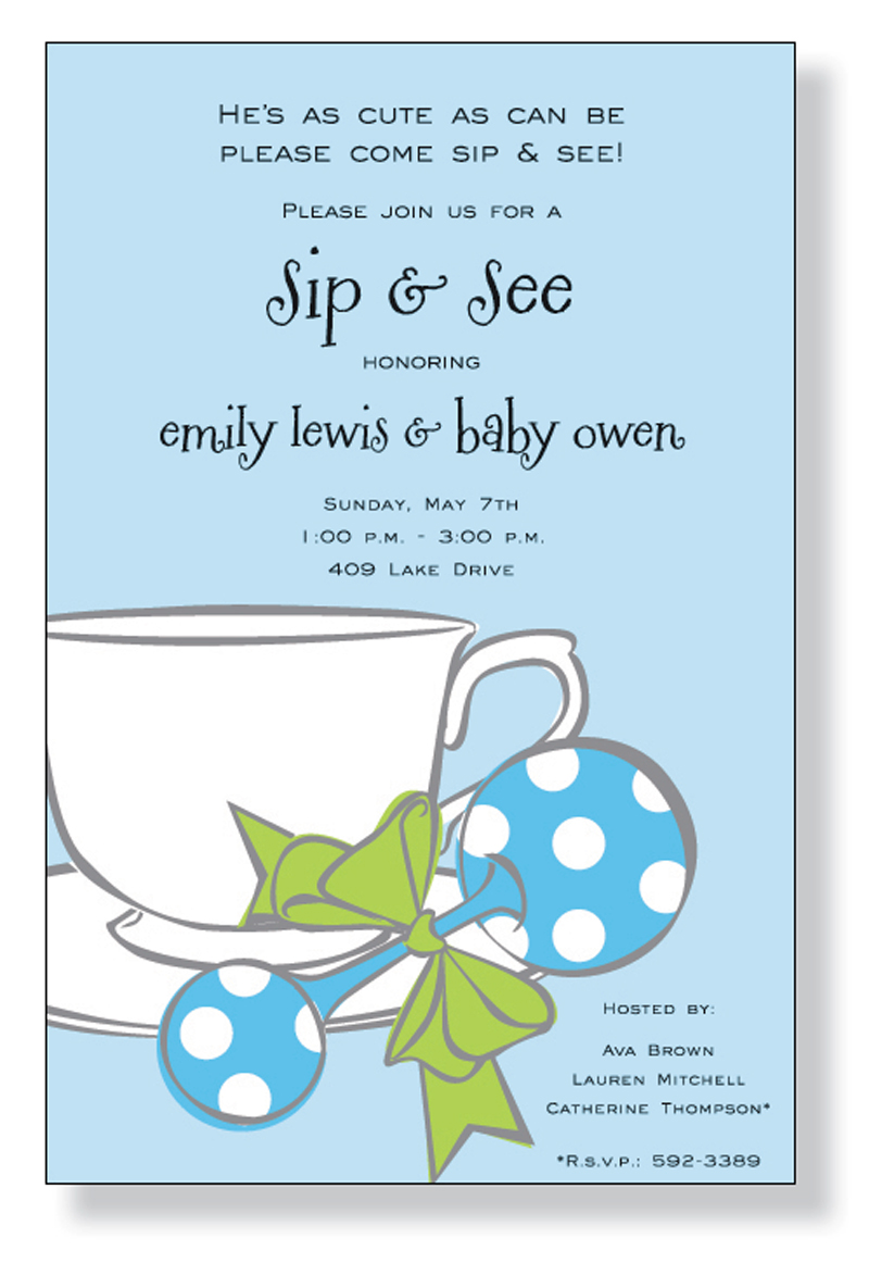Baby Blue Tea - A fun Blue baby themed invitation printed only on premium fine quality 80 lb. card stock. Available either blank or personalized. Includes white envelope.