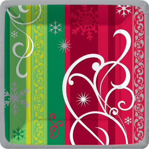 Winter Whril - Dinner Plate  - Complete your event with our colorful coordinating tableware designs! Call customer service if interested in other coordinating items. Minimum order is 24.