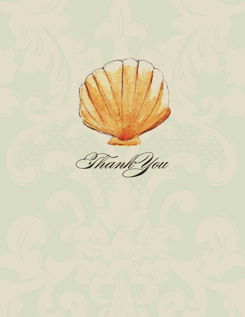 Harbor Island Note Card - This elegant Sea Shell Note card .  This  card comes blank or we can print it for you.  These cards are printed on FSC-certified Domtar Earth Family of papers and are acid free. coordinating envelopes included.