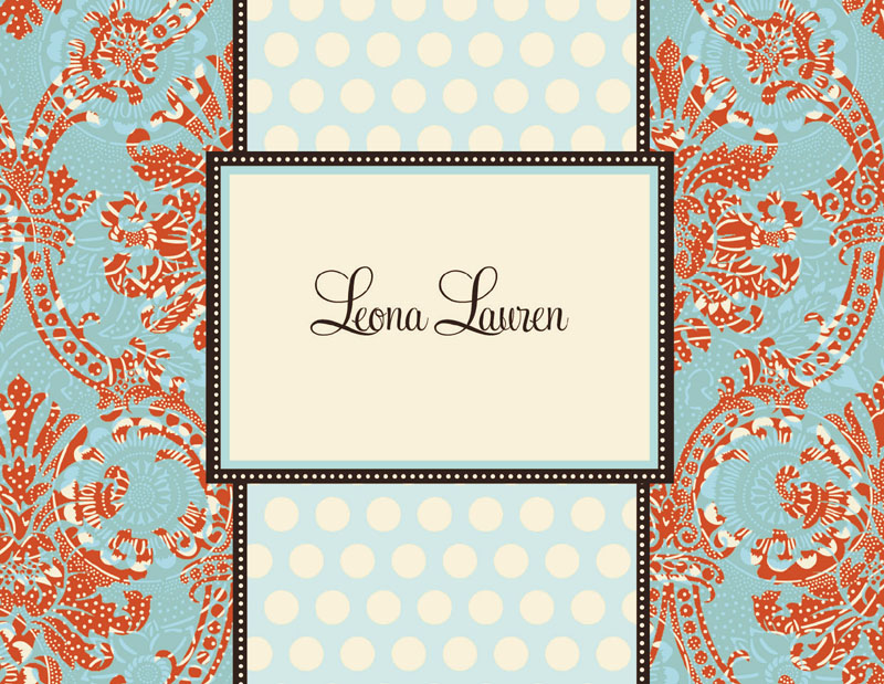 "Lauren Note Card  - Classy fold over cream note card.  This item comes blank or personalized with one line of text, such as name or ""thank you"" on the front. comes with color coordinating envelope."