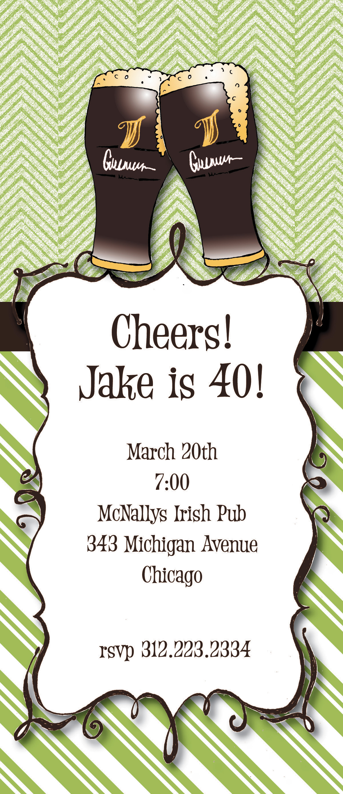 Guiness - This fun 4x9.25 invitation comes  blank or let us print them for you. Cards come with optional embellishment. Please indicate in order if you would like Glitter added.  A .30 cents per card charge will be added. Coordinating color envelopes are included.