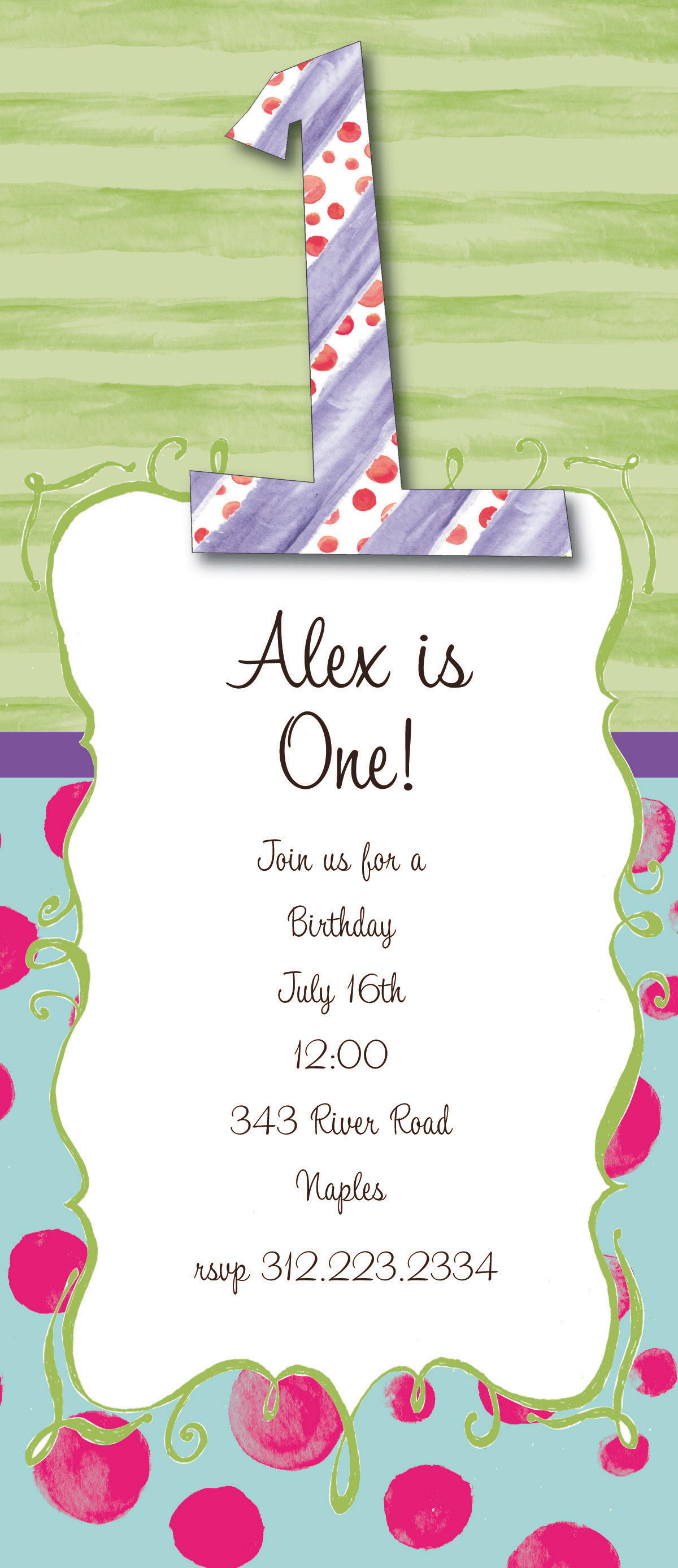 Big One - This fun 4x9.25 invitation comes  blank or let us print them for you. Cards come with optional embellishment. Please indicate in order if you would like Glitter added. Coordinating color envelopes are included.