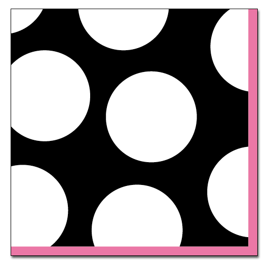 Spots Black Luncheon Napkin - Complete your event with this Trendy polka dot design! 33cm x 33cm. Blank and white with pink border. Coordinating products available, but sold seperately.
