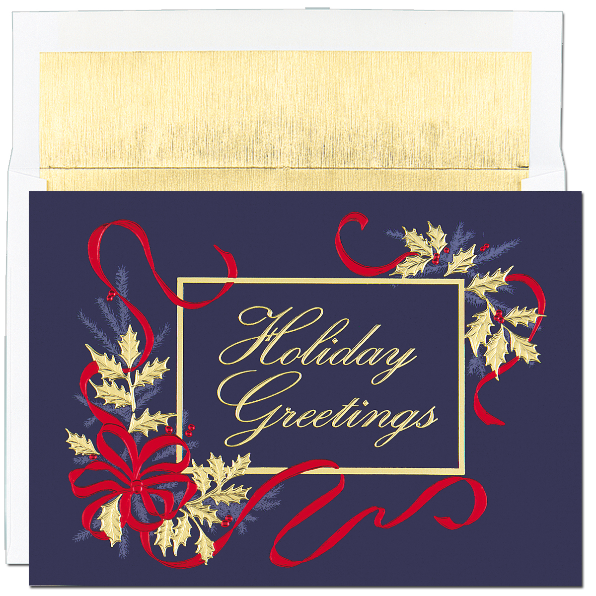 Dark Blue Foil Ribbon Holiday Greetings - Beautiful red and gold foiled embossed holiday card with package die cut.  Blank inside is perfect for corporate holiday cards or for the individual that would like to add their own personal greeting. Impress In Print will personalize your greeting and add images or company logos to cards. (Please note image fee is $25.00) Comes with gold lined envelope.