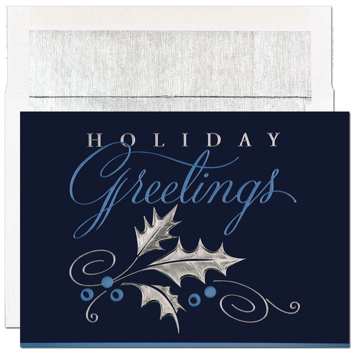 Dark Blue Holiday Greetings Card - Beautiful silver and blue foiled embossed holiday card.  Blank inside is perfect for corporate holiday cards or for the individual that would like to add their own personal greeting. Impress In Print will personalize your greeting and add images or company logos to cards. (Please note image fee is $25.00) Comes with white with silver lined envelopes.
