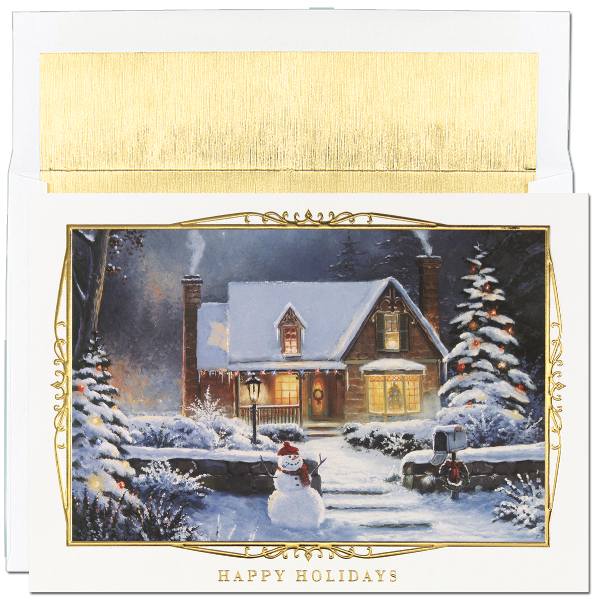 Snowman Scene Greeting Card - Beautiful gold foiled embossed holiday card.  Blank inside is perfect for corporate holiday cards or for the individual that would like to add their own personal greeting. Impress In Print will personalize your greeting and add images or company logos to cards. (Please note image fee is $25.00) Comes with white with gold-lined envelopes.