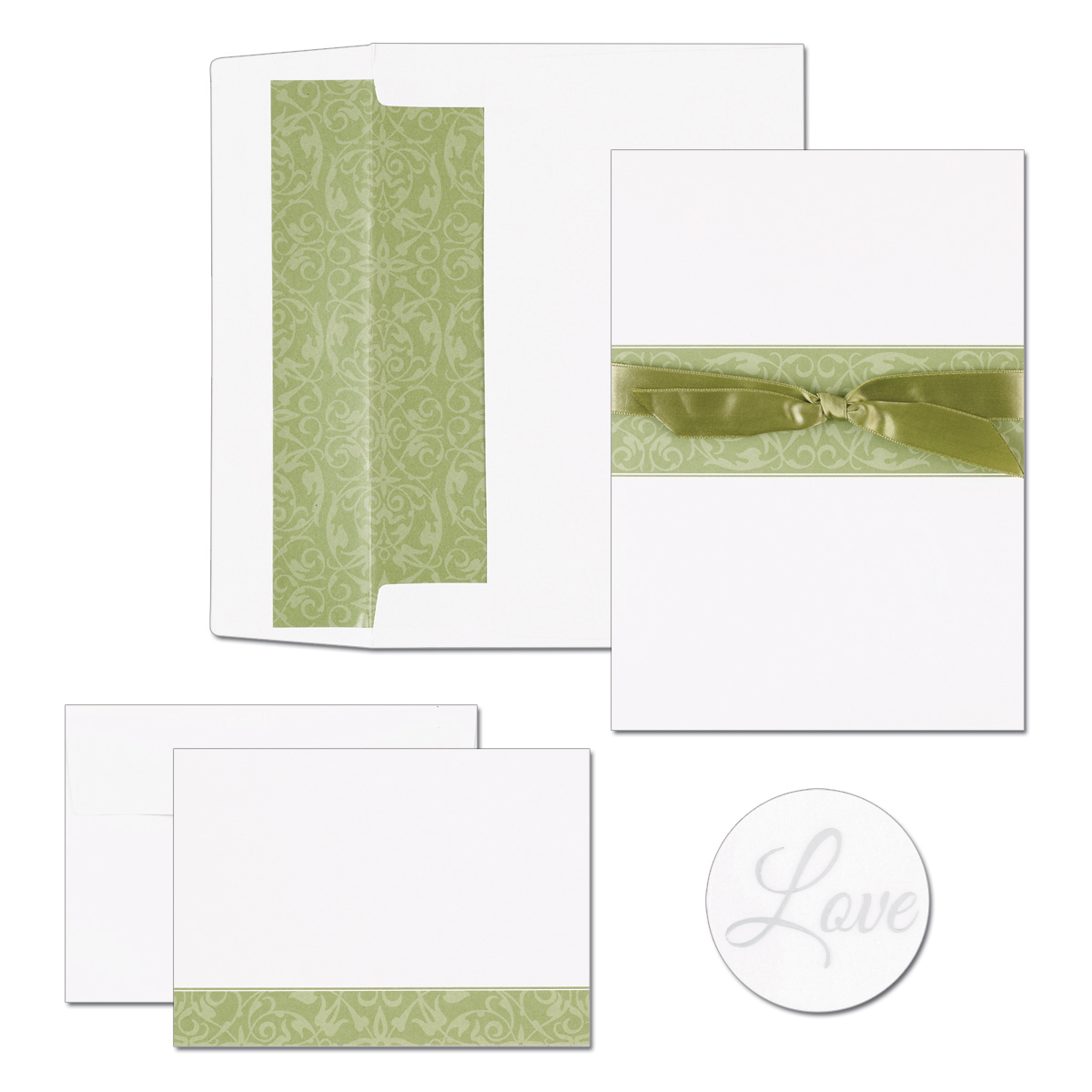 "Sage Swirl Band Invitations and Note Card Kit  - GREAT DEAL! This product is great for Weddings and other special events.   Sage Swirl design with bow includes 50 folders, 50 invitations, 50 lined envelopes, 50 note cards and 50 note card envelopes plus 50 bonus seals size of note card is 5.5"" x 7.75"" note card  4.875"" x 3.375"" 65lb. card stock.If you are ordering personalized we will only print ""thank you"" on the note card in the same font as the personalized invitation.  We do not print on the inside of note card.  Please lindicate in the Notes if you would like note card printed."