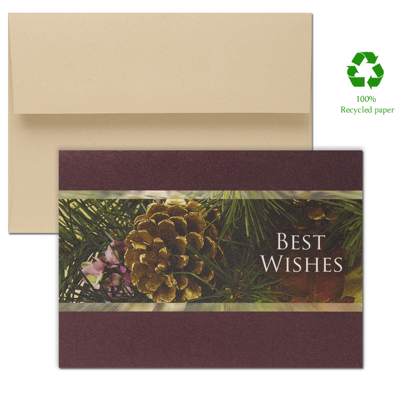 "Photographic Pinecone Green Greeting Card - Looking for Eco Friendly Greeting Cards? This Colorful Pinecone with burgundy bordered design is simply elegant and printed with environmentally friendly ink. The Cards are made of 100% recycled paper with 30% post consumer fibers. Comes in a set of 14 count including envelopes.  The verse inside the card reads ""For a holiday frosted with delight."" These cards are great for family and friends or for business holiday greetings.  If you would like us to add a Company Logo please call for pricing details or email at customercare@impressinprint.com"