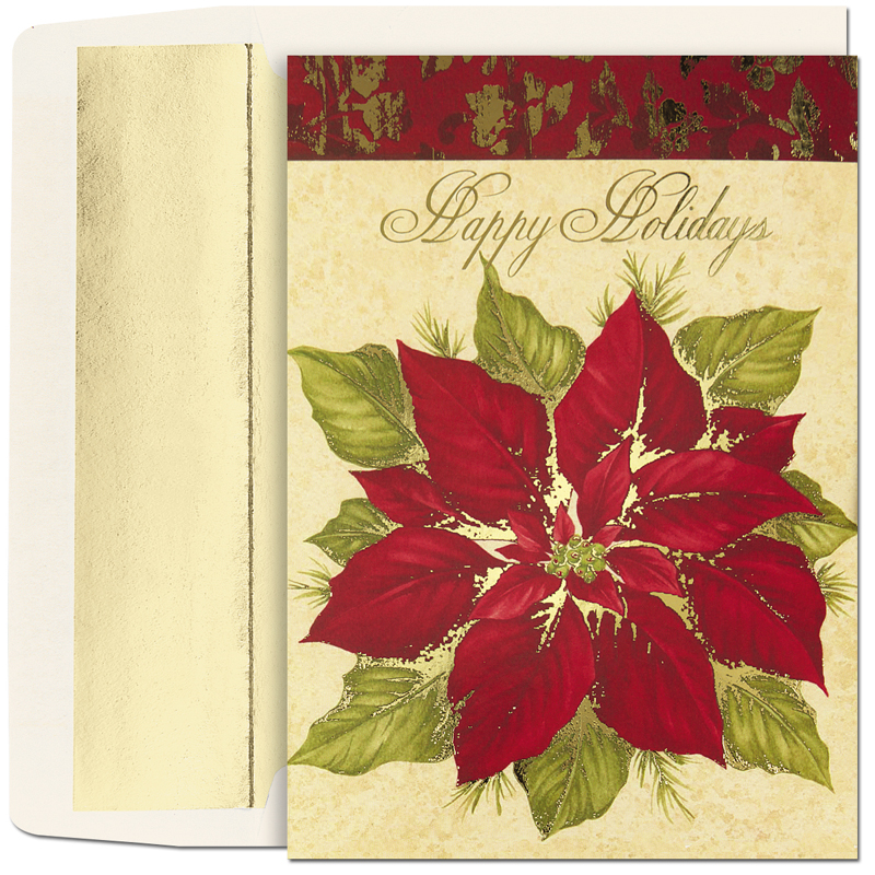 "Poinsettia On Ivory Greeting Card  - Beautiful poinsettia that is elegantly accented wiht gold and completed with the words Happy Holiday on the top of the card.  This card is perfect for family and friends or for the office.  The verse inside reads :""May the beauty of the holiday season be with you throughout the coming year!""  Comes with Gold foiled- lined envelope. If you would like to add a company logo or family names printed on the card please call for pricing."