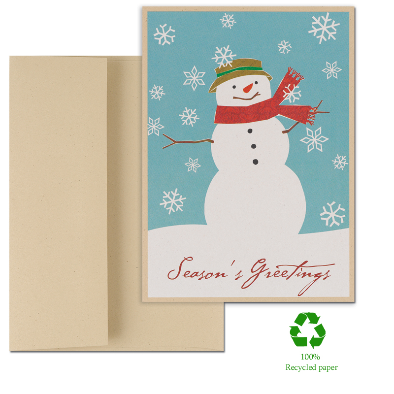 "Patterned Snowman Greeting Cards - Eco Friendly - Looking for Eco Friendly Greeting Cards?  Fun and festive snowman complete with scarf and hat.  Cards are made of 100% recycled paper with 30% post consumer fibers. Comes in a set of 14 count including envelopes.  The verse inside the card reads; "" Wishing you a beautiful holiday season and a new year of peace and happiness ."" These cards are great for family and friends or for business holiday greetings.  If you would like us to add a Company name or Logo please call for pricing details or email at customercare@impressinprint.com"
