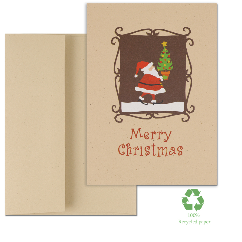 "Santa With Tree Greeting Cards - Eco Friendly - Looking for Eco Friendly Greeting Cards?Santa and Christmas Tree and the words Merry Christmas on the front. Cards are made of 100% recycled paper with 30% post consumer fibers. Comes in a set of 14 count including envelopes.  The verse inside the card reads; ""The Joy Of Love, The Joy Of Hope, The Joy Of Peace. May They All Come To You This Holiday Season! ."" These cards are great for family and friends or for business holiday greetings.  If you would like us to add a Company name or Logo please call for pricing details or email at customercare@impressinprint.com"