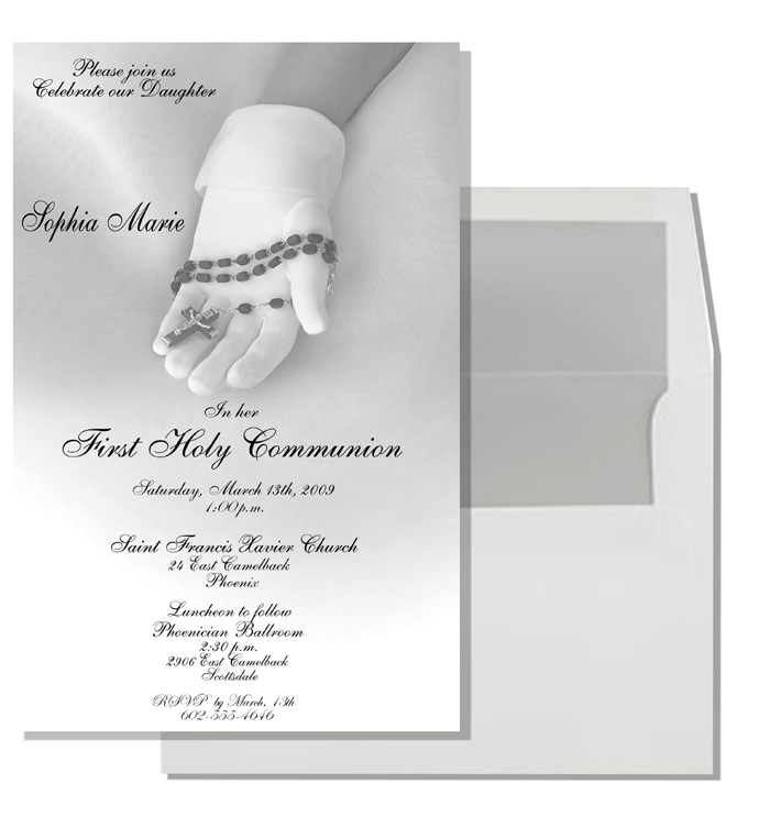 Communion Glove Invitation - New Communion Item!  This is an EXCLUSIVE card that will only be available on our site!  This beautiful communion card adds an extra touch of elegance to that special event. It portrays a young girl`s gloved hand holding a rosary.  Can be used for Twins and Triplets.  Comes with  white envelope that is SILVER LINED.  This is a great added touch!    Coordinating Thank You card is also available-also with silver lined envelope.