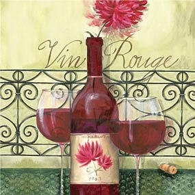 "Vin Rouge Beverage Napkin - Complete your event with our colorful coordinating tableware designs! 25cm x 25cm (aprox. 5"" x 5"") biodegradable, water-based inks printed on 3-ply tissue, bleached without chlorine, made in Germany. Other coordinating items are available. Minimum order is 40."