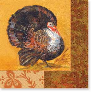 "Elegant Turkey Beverage Napkin - Complete your event with our colorful coordinating tableware designs! 25cm x 25cm (aprox. 5"" x 5"") biodegradable, water-based inks printed on 3-ply tissue, bleached without chlorine, made in Germany. Other coordinating items are available. Minimum order is 40."