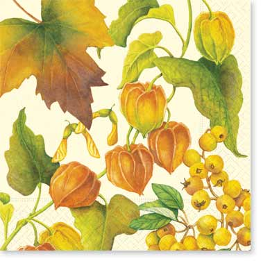 "Botanical Autumn Luncheon Napkin - Complete your event with our colorful coordinating tableware designs! Package size approx. 6.5""x6.5"", biodegradable, water-based inks printed on 3-ply tissue, bleached without chlorine, made in Germany. Other Coordinating items areavailable! Min. order is 40."