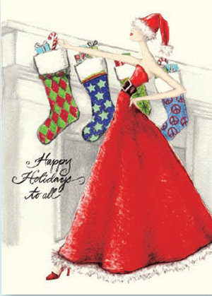 "Mrs. Claus Greeting card  - Cards for a Cause Inspired by Actress Angie Harmon, This beautifully  designed card shows a Festive and stylish woman in a flowing red dress hanging christmas stockings and the words ""happy holidays to all"" on the front.  10% of the proceeds from the sale of this card will benefit,  Childrens Institute. Cards Come with white envelope.  Printed on Recycled paper and made in the USA. This is a great way to send your holiday greeting and show your support for a great charity."