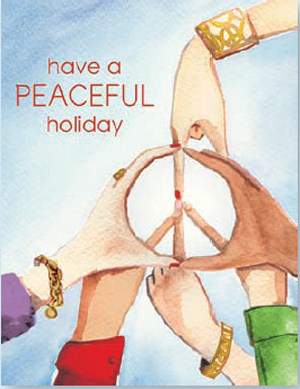 "Imagine Peace Greeting card  - Cards for a Cause Inspired by Nell Merlino , Author & founder of ""take your daughter to work"" day. This beautiful watercolor design of multiple hands that form a peace sign. The words ""have a Peaceful Holiday is printed on the front.   10% of the proceeds from the sale of this card will benefit, Count me in/make mine a million dollar business. Cards Come with white envelope.  Printed on Recycled paper and made in the USA. This is a great way to send your holiday greeting and show your support for a great charity."