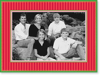 "Red Stripes Photo Card - Red striped with green borders and accented with gold foil makes a great holiday greeting.  This card frames a 4"" x 6"" photo and has a pre-printed verse inside ""Seasons Greetings - Happy holidays."" If you would like to add your family names to greeting please order personalized product and place your text in personalization box.  Comes with white envelope."