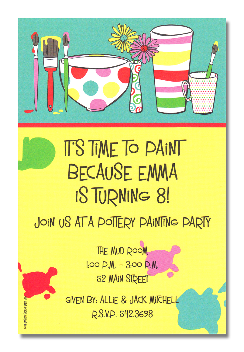 Painting Pots - Pottery Painting Party! This cute and artsy invitation is decorated with freshly painted clay pottery and paint brushes still dripping with paint.  The background is split up between yellow and teal with a red border.  So cute for a birthday party at a pottery studio!A trendy and colorful design printed only on premium fine quality 80 lb. card stock. Available either blank or personalized. Includes white envelope.