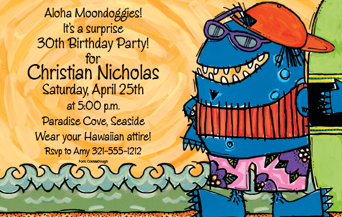 Monster Surfer - This bold invite is Designed by Artist Frank Bielec. His fun and brightly colored Monster Pool party design, has a monster wearing cool shades ready for some fun in the sun.  It gives  a humorous and crazy twist to your invitation! Invitations are printed on an 80lb. card stock. Includes white invitation.
