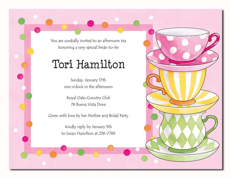 Tea Party - Pretty tea party invitation, with a light pink background ...